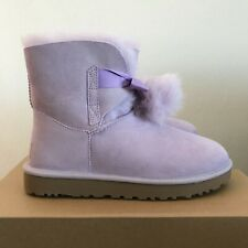UGG Womens Size 8 Gita Winter Boots Purple Lavender Fog Pom Poms Bow Sheepskin