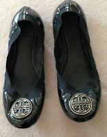 Tory Burch Ballet Flats Pumps 7.5 M Caroline Black Patent Leather Elasticated