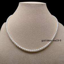 Elegant AAA 3-4mm real natura Japanese Akoya white pearl necklace 14k Gold