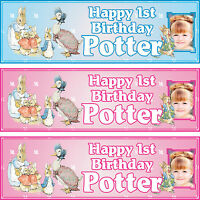 2 x personalized birthday banner party peter rabbit boys girls any name ages