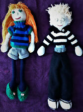 Hand Knitted Rag Dolls Red Hair Girl Blonde Boy Removable clothes Jack Wills