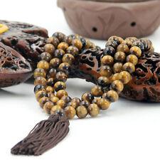 Tibetan Buddhist 108 Tiger Eye Gem Prayer Beads Mala Necklace