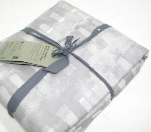 West Elm Gray Organic Cotton Match Sticks Motif Full Queen Duvet Cover New