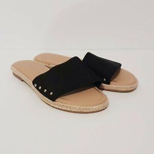 Size 7 TARGET Black Tan Flat Slides Sandal Elastic Stretch Wide Strap Slim NWOT