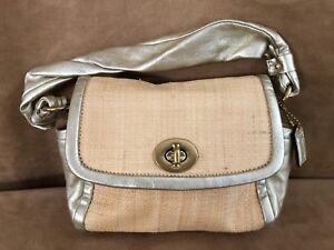 Coach Parker Gold metallic Straw Small handbag purse 42475 leather