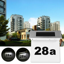 Bright Solar Powered 4 LED House Address Number Doorplate Plaque Light Wall Lamp