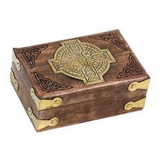 Handmade Wooden Wood Jewelry Box with Cross Christian Rosary Keepsake 15 x 10 cm