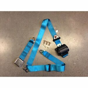3pt Retractable Electric Blue Safety Seat Belt Airplane Lift Buckle Car Each V8