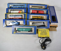 AHM A.H..M Train Lot of 9 HO Cars Con Rail Penn Central Assorted and Tracks