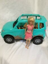 Barbie Camping Fun Doll and Jeep Teal Blue Off Road Adventure Vehicle + Barbie