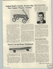 1965 PAPER AD Sincor Skate Board Sidewalk Surfboard The Spoon Curved Wood Wooden
