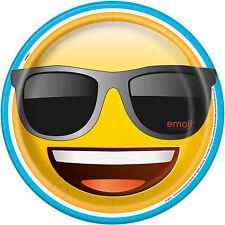 "EMOJI PLATES,  PK/8  9"" PAPER PARTY PLATES, SUNGLASSES,  SMILEY FACE,    50885"