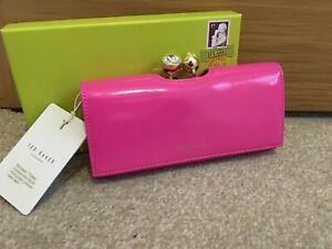 Ted Baker Crinkle Patent Leather Bobble Clasp BNWTS Bright Pink ELADOR