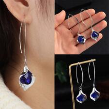 Ear Stud Hoop Dangle Bridal Earrings Chic Women Jewelry 925 Silver Blue Sapphire