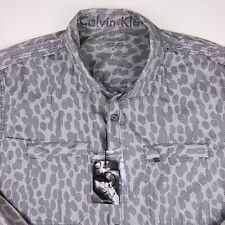 Calvin Klein Mens Button Front Shirt Sz Medium Body Fit New With Tags
