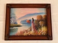 Small Retro Oil on Board Figural Landscape Woman Vintage Painting Plastic Frame