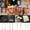 Women Imitation Pearl Earrings Dangle Drop Long Earrings Bride Fashion Jewelry