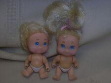 "2 Small Dolls 1990 TYCO Blonde & Blue Eyes a 4 boy & a 5 Girl 2 1/2"" Tall Toys"