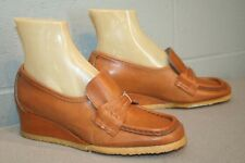 6 Nos Vtg 1960s 1970s Hi Wedge Heel Delmar Belted Loafer Leather 60s 70s Shoe