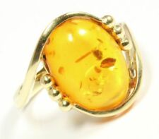 ♦♦14kt 585 Gelbgold Damen Gold Ring Bernstein Bernsteinring Schmuck Damenring♦♦