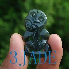 Natural Nephrite Jade Hei Tiki Pendant, Nz Maori Style, Both Sides Carved