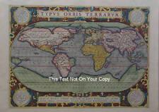 Vintage Alt Farbe Farbe Weltkarte von Abraham Ortelius 1570c Reproduktion Plan