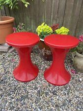Pair Of Vintage Retro Tam Tam Bright Red Plastic Stools