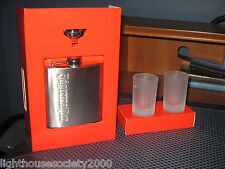 Jagermeister Stainless Steel Flask Canteen Funnel 2 Frosted Shot Glasses Set New