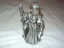Fantasy Wizard w/ Staff and Crystal Ball 4 inches tall Silver Pre- Owned
