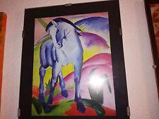 Franz Marc Blaues Pferd 1 , 1911 Bild/Druck/Kunstdruck mit Rahmen ca.21x30 cm.