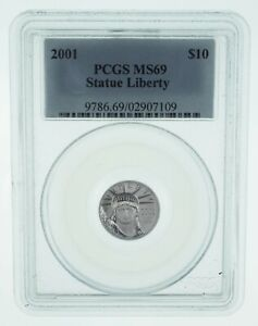 MS69 2001 $10 1/10 Oz. Platinum Eagle - Statue Of Liberty - Graded PCGS *625