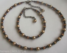 Antique bronze tone glass pearl beaded necklace choker bracelet jewellery set