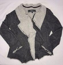 BNCI BY BLANC NOIR Women's Sweater Size M Gray Frayed Raw Hem Zipper