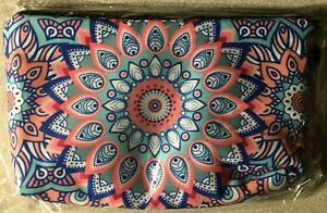 Roomy Cosmetic Bag with zipper (Mandala Flower) Teal