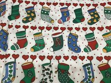 Fabric 1 1/2 Yards Christmas Stockings Fabric Material Cotton New Vintage