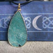 Amazonite necklace teardrop pendant natural stone crystal healing