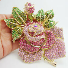 "5"" Holy Rose Green Pink Bud Leaf Crystal Brooch Pink Rhinestone Flower"