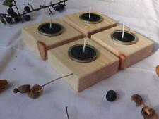 4 Teelichthalter Holz Zirbe Glas Zirbenduft Kerze Weihnachten Kerzenständer