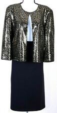 ST.JOHN Womens Suit Black Brown Gold Sequins Jacket & Skirt Sz 16