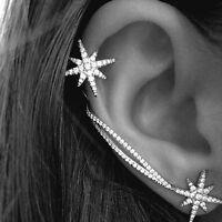 Elegance Gothic Antique Snowflake Rhinestone Clip Ear Cuff Wrap Stud Earrings