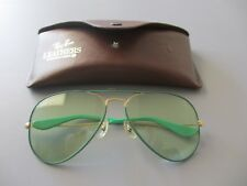 05a3761962a B L Ray Ban Vintage Flying Colors Green Changeable 58-14 Aviator Sunglasses