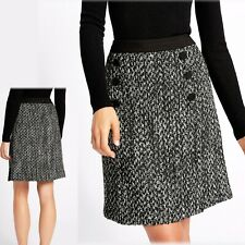 """M&S A-Line MINI SKIRT with WOOL ~ Size 14 (18"""" Length) ~ BLACK Mix"""