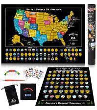 Scratch Off Map United States + US National Parks Poster USA Travel Bucket List