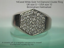 Men's 14Carat White Gold Diamond Ring Hallmarked UK size U 1ct DIA man,s Vintage