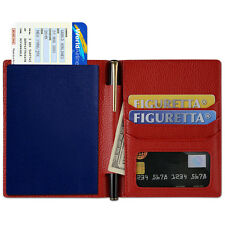 Genuine Real Leather Travel Wallet Case RFID Blocking Credit Card Passport Red