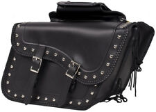 LARGE SIZE PV LEATHER SLANTED MOTORCYCLE SADDLEBAGS w/BRAID & STUDS UNIVERSAL