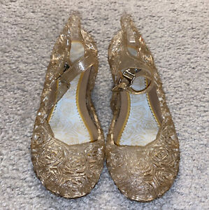 Girls Sz 11 Gold Princess Jelly Shoes Cosplay Dress Up Sandals
