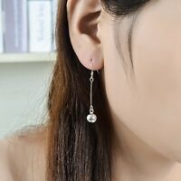 Genuine 925 Sterling Silver 8mm Bell Lucky Pendant Dangle Drop Hook Earrings New