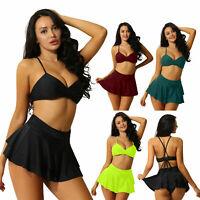 Women's Two Piece Bikini Set Swimwear Sexy V Plunge Bra Ruffle A Skirt Knicker