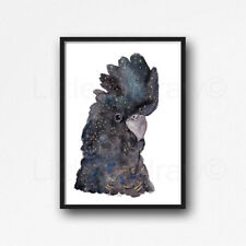 Black Cockatoo Portrait Bird Watercolour Painting PRINT 8x10 Wall Art
